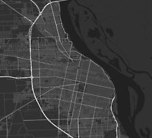 Rosario, Argentina Map. (White on black) by Graphical-Maps