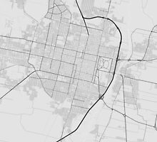 San Miguel de Tucuman, Argentina Map. (Black on wh by Graphical-Maps