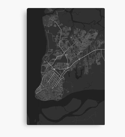 Belem, Brazil Map. (White on black) Canvas Print