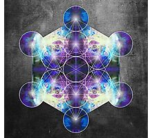 Metatron's Cube blue Photographic Print
