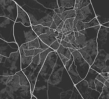Campinas, Brazil Map. (White on black) by Graphical-Maps