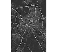 Campinas, Brazil Map. (White on black) Photographic Print