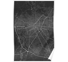 Curitiba, Brazil Map. (White on black) Poster