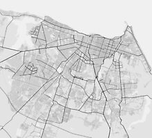 Fortaleza, Brazil Map. (Black on white) by Graphical-Maps