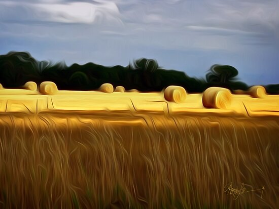 The Color of Straw abstract landscape by Alma Lee by Alma Lee