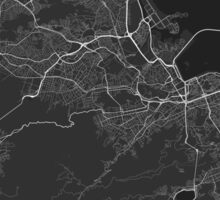 Rio de Janeiro, Brazil Map. (White on black) Sticker
