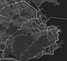 Rio de Janeiro, Brazil Map. (White on black) by Graphical-Maps