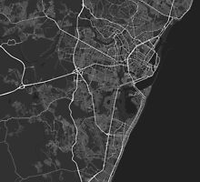 Recife, Brazil Map. (White on black) by Graphical-Maps