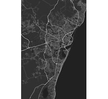 Recife, Brazil Map. (White on black) Photographic Print
