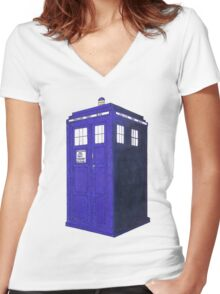 Tardis - Hand Drawn and Colored Women's Fitted V-Neck T-Shirt