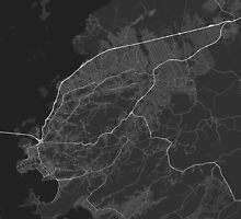 Sao Goncalo, Brazil Map. (White on black) by Graphical-Maps