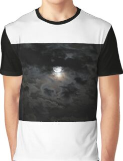 Black and silver clouds with full moon Graphic T-Shirt