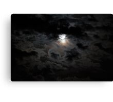 Black and silver clouds with full moon Canvas Print