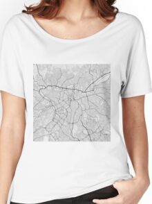 Sao Paulo, Brazil Map. (Black on white) Women's Relaxed Fit T-Shirt