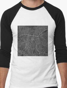 Sao Paulo, Brazil Map. (White on black) Men's Baseball ¾ T-Shirt