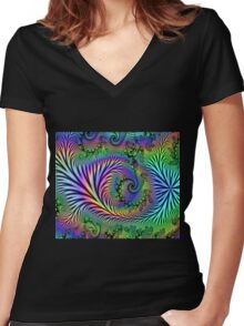 Psychedelic Forest Women's Fitted V-Neck T-Shirt