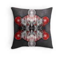Metatron's Cube red Throw Pillow