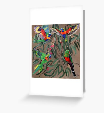 Birds from Paradise. Rosellas Greeting Card