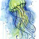 Watercolor Jellyfish by Olga Shvartsur