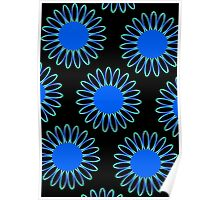 Big Blue Daisy Abstract Poster