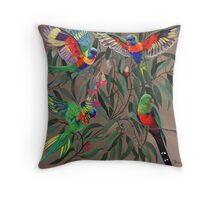 Birds from Paradise. Rosellas Throw Pillow