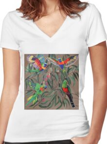 Birds from Paradise. Rosellas Women's Fitted V-Neck T-Shirt