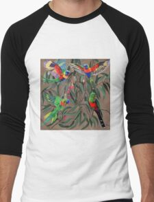 Birds from Paradise. Rosellas Men's Baseball ¾ T-Shirt