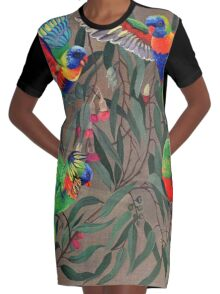 Birds from Paradise. Rosellas Graphic T-Shirt Dress