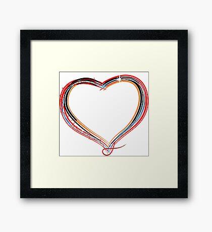 Funky heart illustration Framed Print