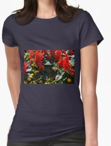 Red flowers texture Womens Fitted T-Shirt