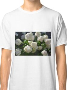 Natural background with bunch of white flowers Classic T-Shirt