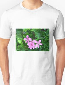 Pink flowers on green leaves background Unisex T-Shirt