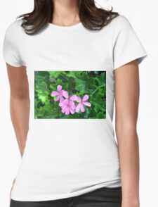 Pink flowers on green leaves background Womens Fitted T-Shirt