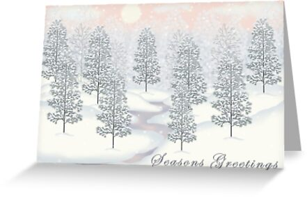 Snowy Day Winter Scene - Seasons Greetings Christmas Card by Lallinda