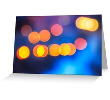 abstract background of blurred lights with bokeh effect Greeting Card