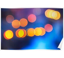 abstract background of blurred lights with bokeh effect Poster
