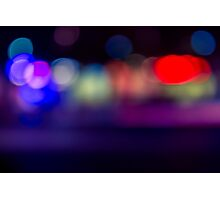 abstract blur of red, blue and purple lighting night club disco dance floor Photographic Print