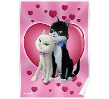 Romantic Cartoon cats on Valentine Heart  Poster