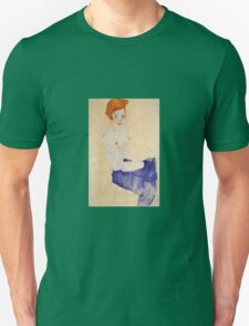 Egon Schiele - Seated Girl With Bare Torso And Light Blue Skirt 1911 Unisex T-Shirt