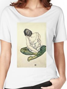 Egon Schiele - Seated Woman With Green Stockings  Women's Relaxed Fit T-Shirt