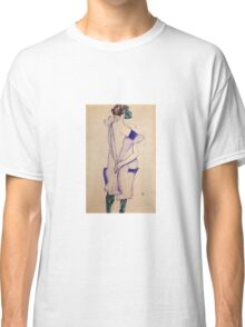 Egon Schiele - Standing Girl In A Blue Dress And Green Stockings Back View 1913 Classic T-Shirt