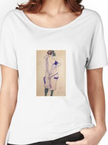 Egon Schiele - Standing Girl In A Blue Dress And Green Stockings Back View 1913 Women's Relaxed Fit T-Shirt