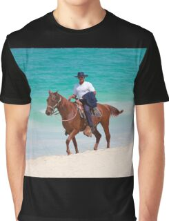 Horse rider on a Tropical Beach in Florida Graphic T-Shirt