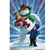 Children and Snowman playing together Photographic Print