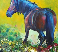 Wild Horse On Dartmoor Painting by MikeJory