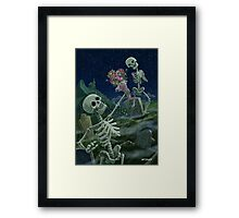 Romantic Valentine Skeletons in Graveyard Framed Print