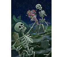 Romantic Valentine Skeletons in Graveyard Photographic Print