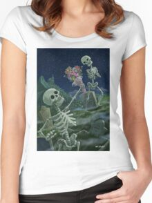 Romantic Valentine Skeletons in Graveyard Women's Fitted Scoop T-Shirt