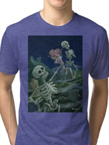Romantic Valentine Skeletons in Graveyard Tri-blend T-Shirt