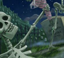 Romantic Valentine Skeletons in Graveyard Sticker